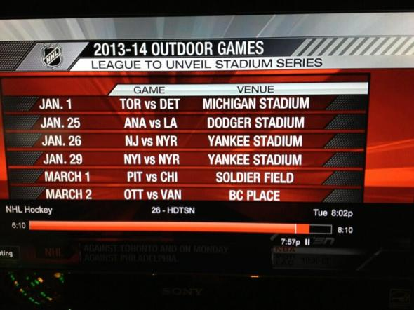 2014 NHL Outdoor Schedule