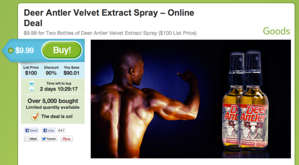 Groupon Deer Antler Spray