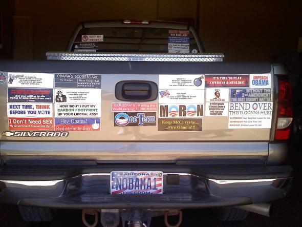 Anti obama bumper sticker car